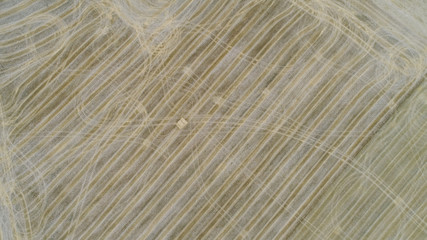 Agricultural hay field with textured lines