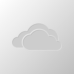 cloudy weather icon. Paper design. Cutted symbol. Pitted style
