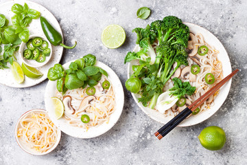 Vegetarian traditional Vietnamese soup Pho bo with herbs, rice noodles, broccolini, bok choy, bean sprouts, mushrooms. Vietnam national dish. Asian food concept.