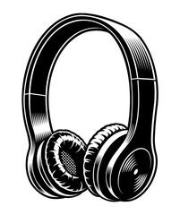 Black and white illustration of headphones.