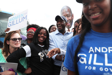 Democratic gubernatorial candidate Andrew Gillum poses for a photo after speaking at the Sunrise Worship Center in Marianna, Florida