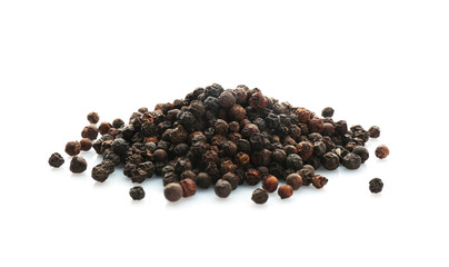 Garden Poster Spices Black pepper grains on white background. Natural spice