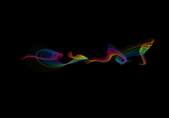 abstract rainbow wavy smoke flame isolated over black background.