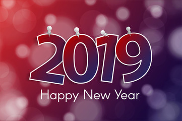 Happy New Year 2019 greeting card concept with paper cuted white numbers on pins. Vector illustration