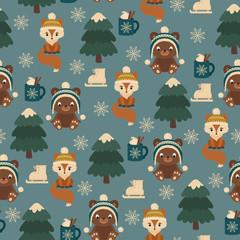 Woodland animals winter time. Seamless vector pattern. Children's wallpaper