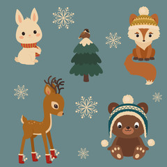 Woodland animals winter time. White bunny/rabbit, fox, sparrow on a Christmas tree, baby deer/fawn, brown bear in winter clothes.