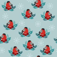 Bulfinch winter seamless vector pattern