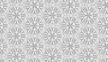 Seamless light texture of three-dimensional elegant flower petals based on hexagonal grid 3D illustration