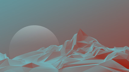 Low poly mountain 3D image illustration