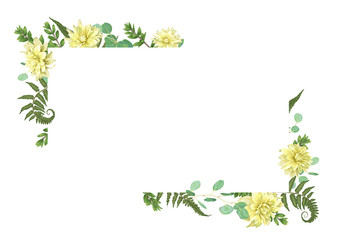 Vector card flowers of yellow dahlia watercolor, eucalyptus, forest fern, herbs, eucalyptus, branches boxwood, buxus, botanical green, decorative horizontal frame, square. Wedding