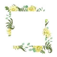 Vector card flowers of yellow dahlia watercolor, forest fern, herbs, eucalyptus, branches boxwood, buxus, botanical green, decorative frame, square. Cute greeting, wedding invite