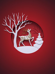 3d render, digital illustration, flat paper craft winter landscape, reindeer, fir tree, layers, stag, Christmas greeting card, white tree, round frame, red background