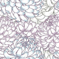 Abstract floral seamless pattern with flowers of chrysanthemums.