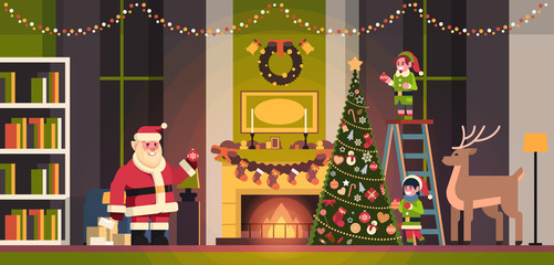 santa claus with elves on staircase decorate fir tree living room interior merry christmas happy new year concept flat horizontal vector illustration