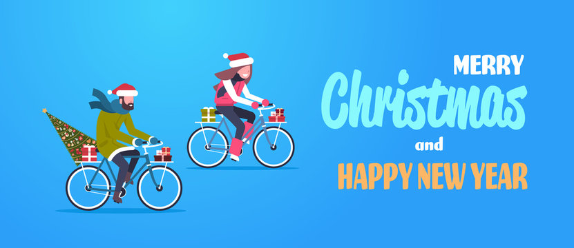 couple woman man riding bike with fir tree gift box merry christmas happy new year concept flat horizontal vector illustration