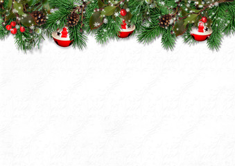 Christmas border with fir branches, holly and cones оn white background