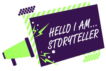 Text sign showing Hello I Am... Storyteller. Conceptual photo introducing yourself as novels article writer Megaphone loudspeaker green striped frame important message speaking loud