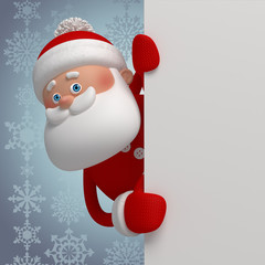 Santa Claus hiding behind the corner, holding blank banner, 3d character, winter silver background, greeting card template, blank space for text, poster, banner