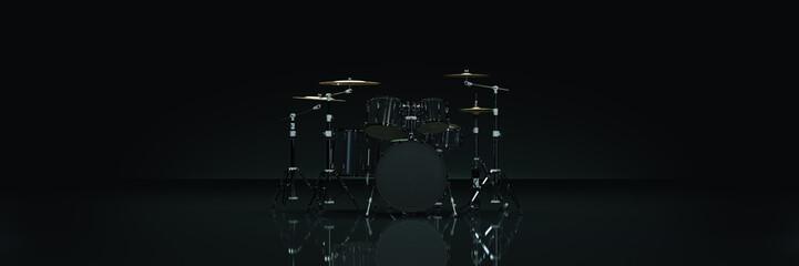 Drum kit in dark background. 3d rendering