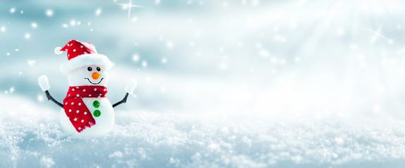 Snowman In Snowy Winter Wonderland Wall mural