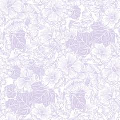 Malva flowers Hibiscus or Mallow seamless pattern.