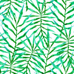 Tropical seamless pattern. Watercolor thorny palm