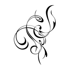 abstract decorative pattern in smooth black lines on a white background