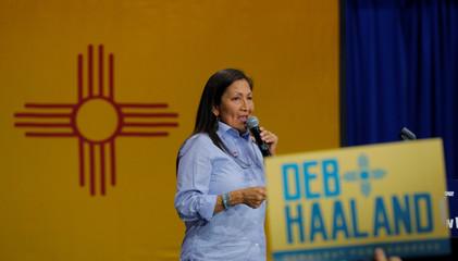 U.S. Democratic Congressional candidate Deb Haaland speaks at a Democratic Unity rally in Albuquerque