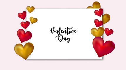 valentine day greeting template, valentine background with hear