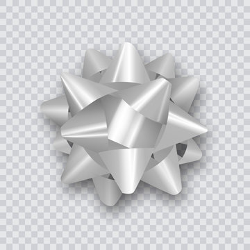 Silver bow for packing gifts. Realistic vector illustration on transparency grid.
