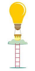 idea balloon with a ladder isolated on white. Stock flat vector illustration.
