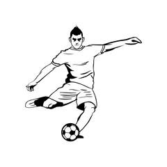 Soccer Player Kick Ball Vector Outline Illustration