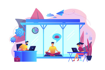 Business people working at laptops in office with meditation and relax area. Office meditation room, meditation pod, office relaxing place concept. Bright vibrant violet vector isolated illustration