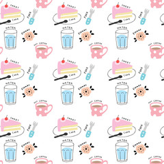 Cute seamless pattern cake and coffee vector.