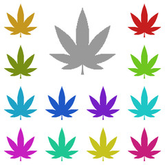 marijuana, marihuana, fu, pot, weed, ganja icon in multi color. Simple glyph vector for UI and UX, website or mobile application