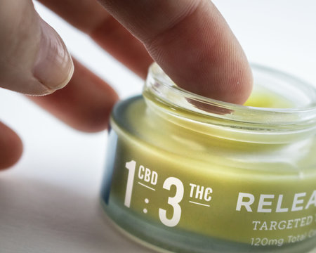 CBD : THC Pain Relief Cream In Labeled Glass Jar (120mg)
