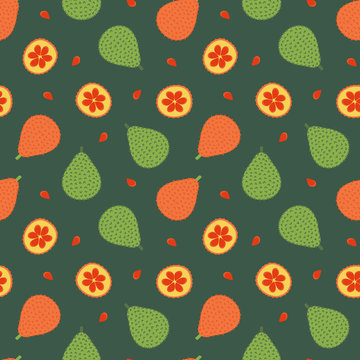Vector seamless pattern background in cartoon style with gac fruit or baby jack fruit.