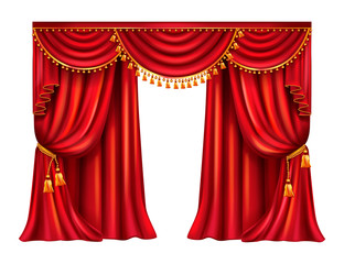 Wrinkled red curtain with lambrequin decorated golden tassels realistic vector isolated on white background. Heavy window dressing in Victorian style gathered from side with tie. Theater stage drapery