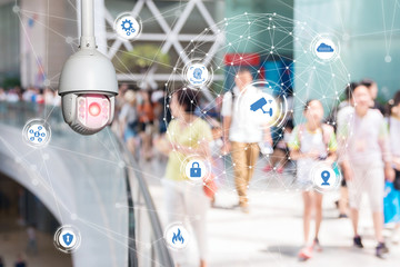 Fototapete - Machine Learning analytics identify person technology , Artificial intelligence ,Big data , iot concept. Cctv , security camera and face recognition people in smart city building.