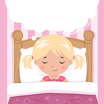 The little girl sleeps in the bed. Speech bubble with place for text or image. Vector.