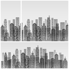 Modern city skyline, building silhouette in grey, for flat