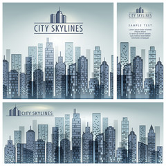 City skyline poster, building silhouette banner and text.