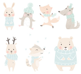 Wolf, fox, bunny, bear, raccoon, reindeer, penguin baby winter set. Cute christmas animal in warm sweater, scarf.