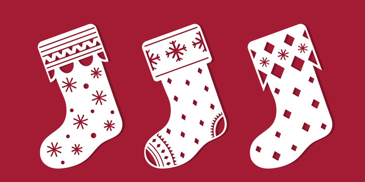 Christmas boots. Set of Christmas decoration. Template for laser cutting, wood carving. Vector silhouette on red background.
