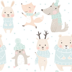 Bear, wolf, reindeer, hare, fox, penguin baby winter seamless pattern. Cute animal Christmas background.