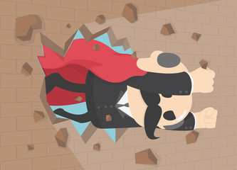 Super businessman punches the wall, employee superhero flying through the wall