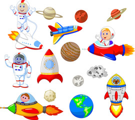 Cartoon astronaut with spaceship collection set