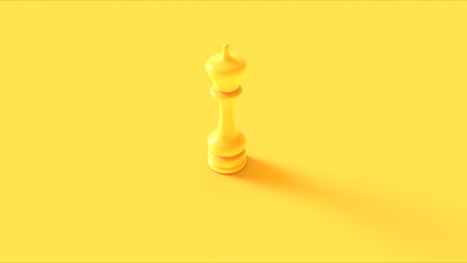 Yellow Chess King Piece 3d illustration 3d rendering