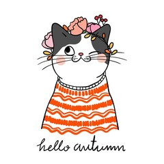Draw cat with beauty sweater and wreath flower on head for autumn