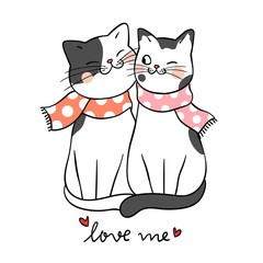 Draw couple love of cat with word love me